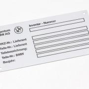 náhradní štítek k vozidlu