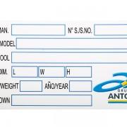 tištěný výrobní štítek Grupo Antolin